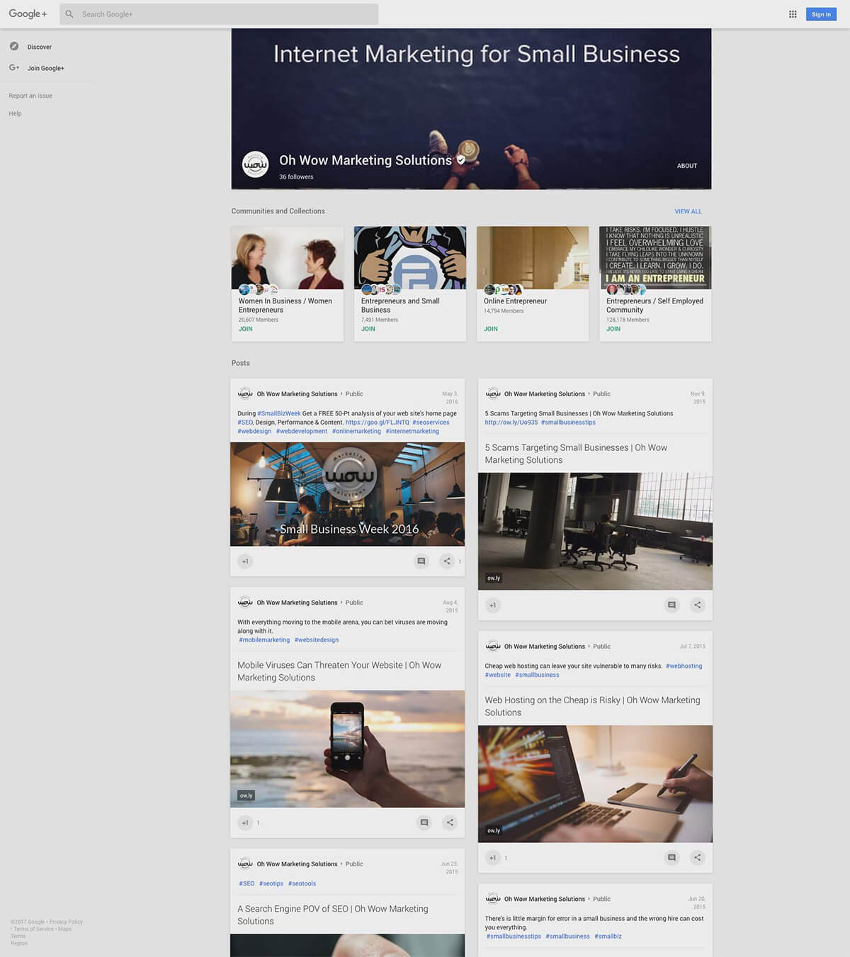 Google Plus Page Oh Wow Marketing