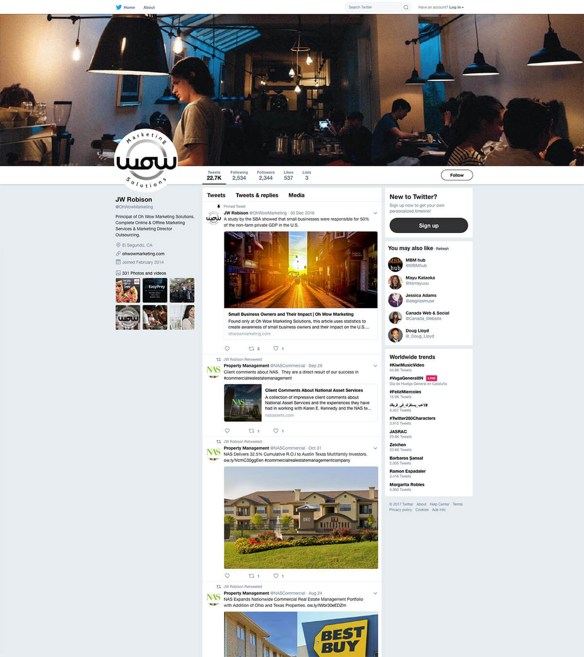 Twitter Page Oh Wow Marketing